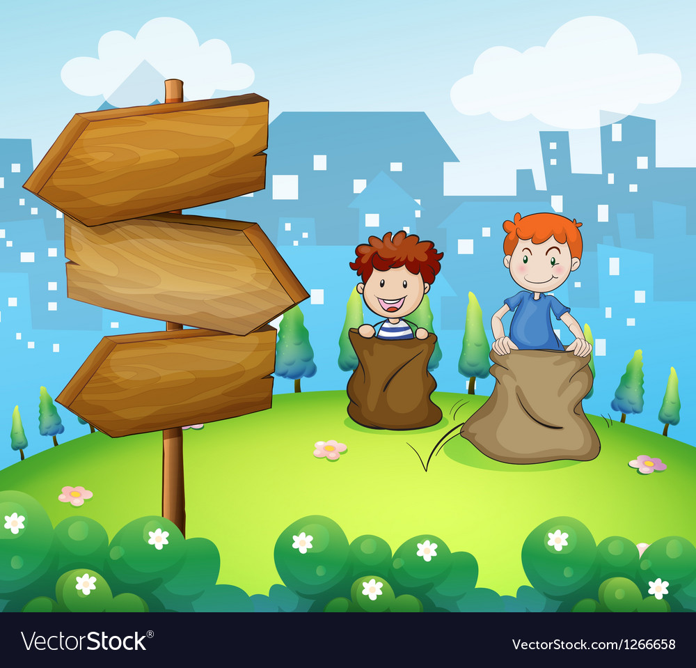 Two boys playing sack race near the arrow boards vector
