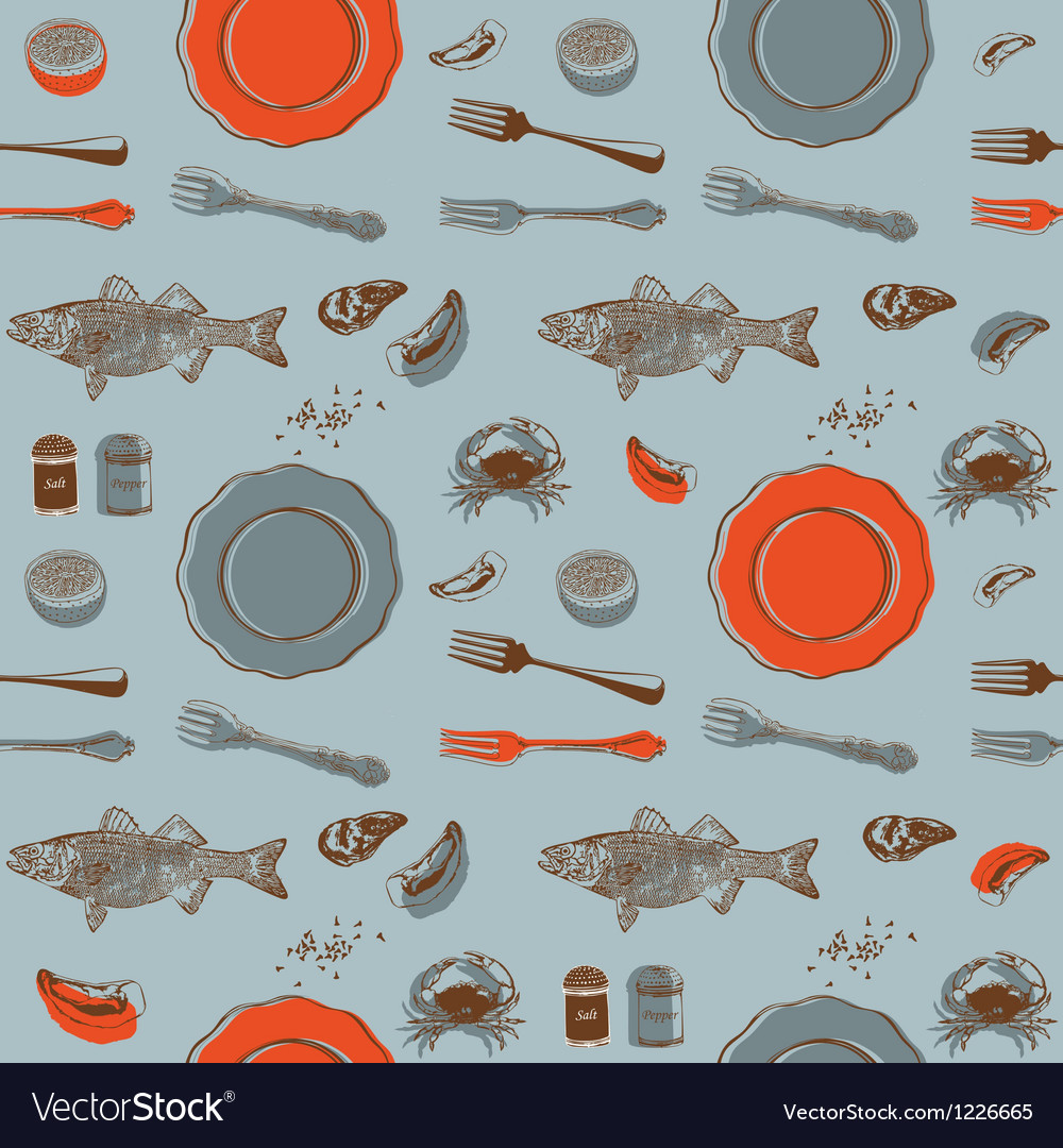 Sea food seamless background vector