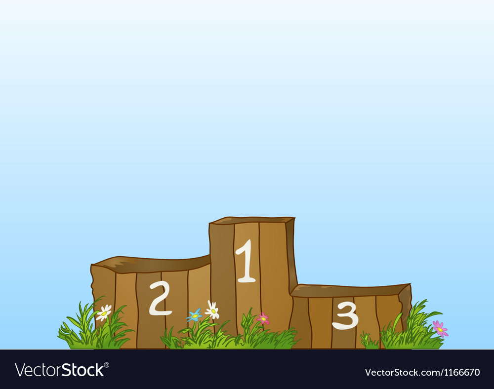 Winner sports wooden podium vector