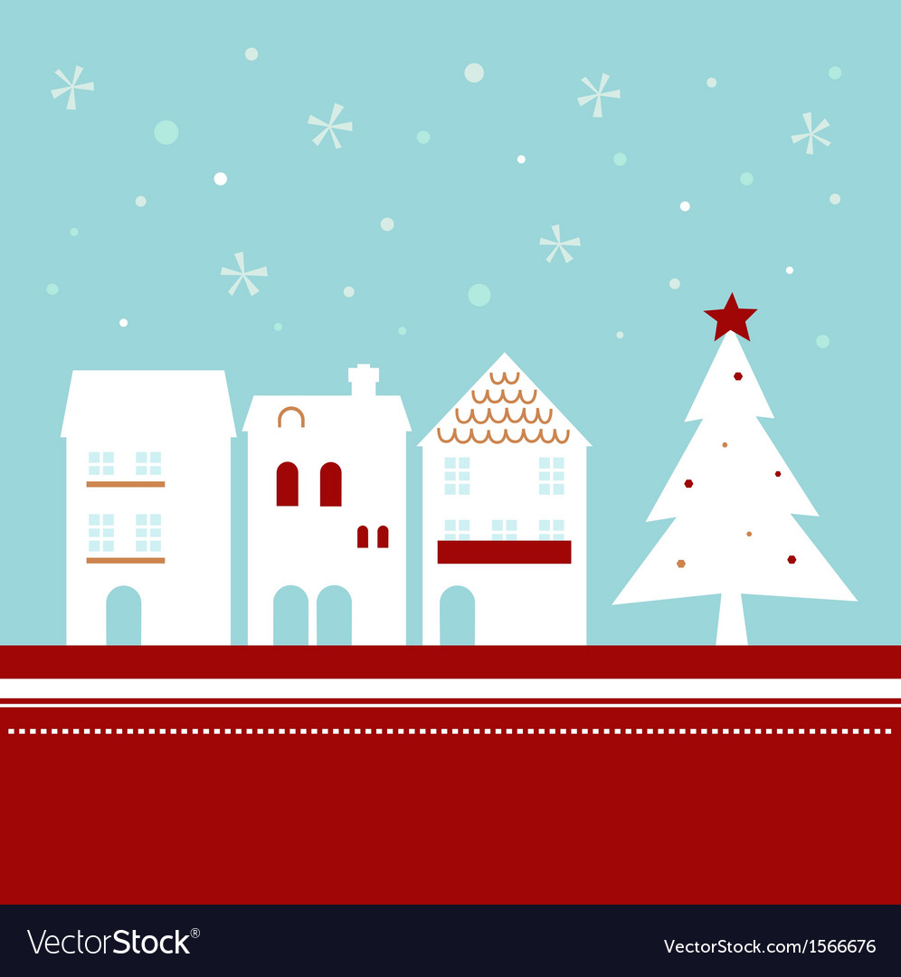 Xmas town on snowing background - vector
