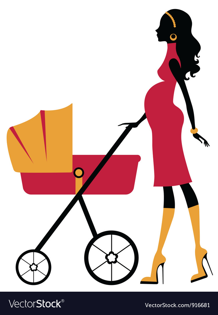 Pregnant woman with baby stroller vector