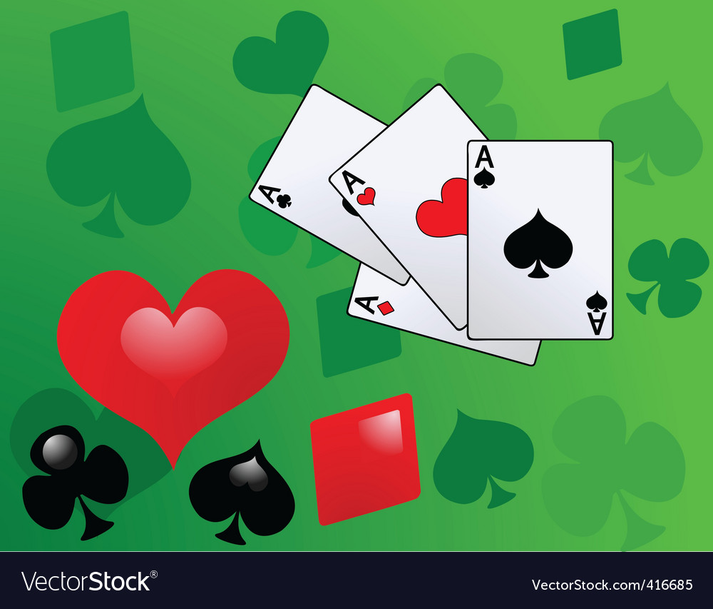 Playing card with aces vector