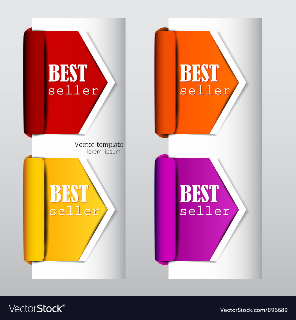 Colorful arrows and bookmarks bestseller vector