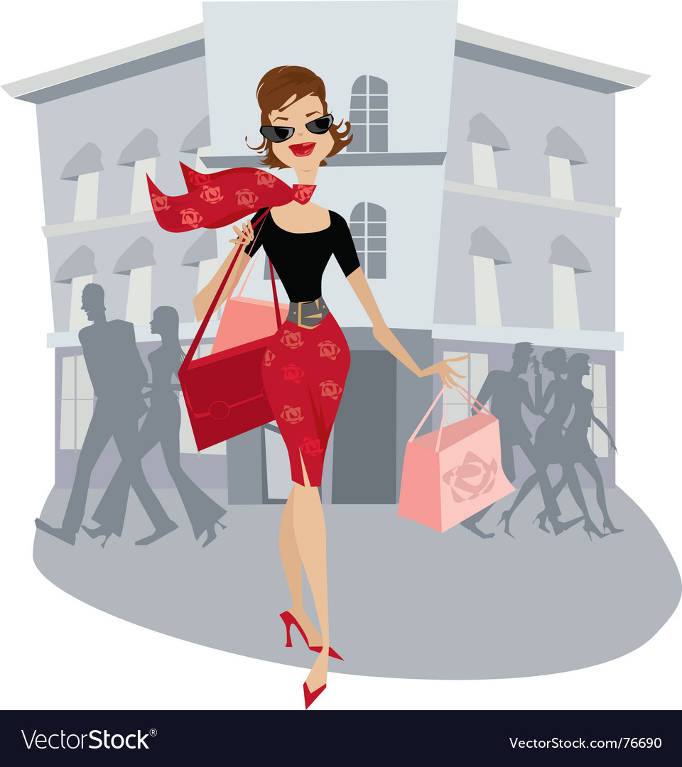 Shopping lady vector