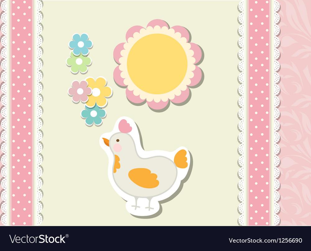 Vintage doodle baby bird chicken vector