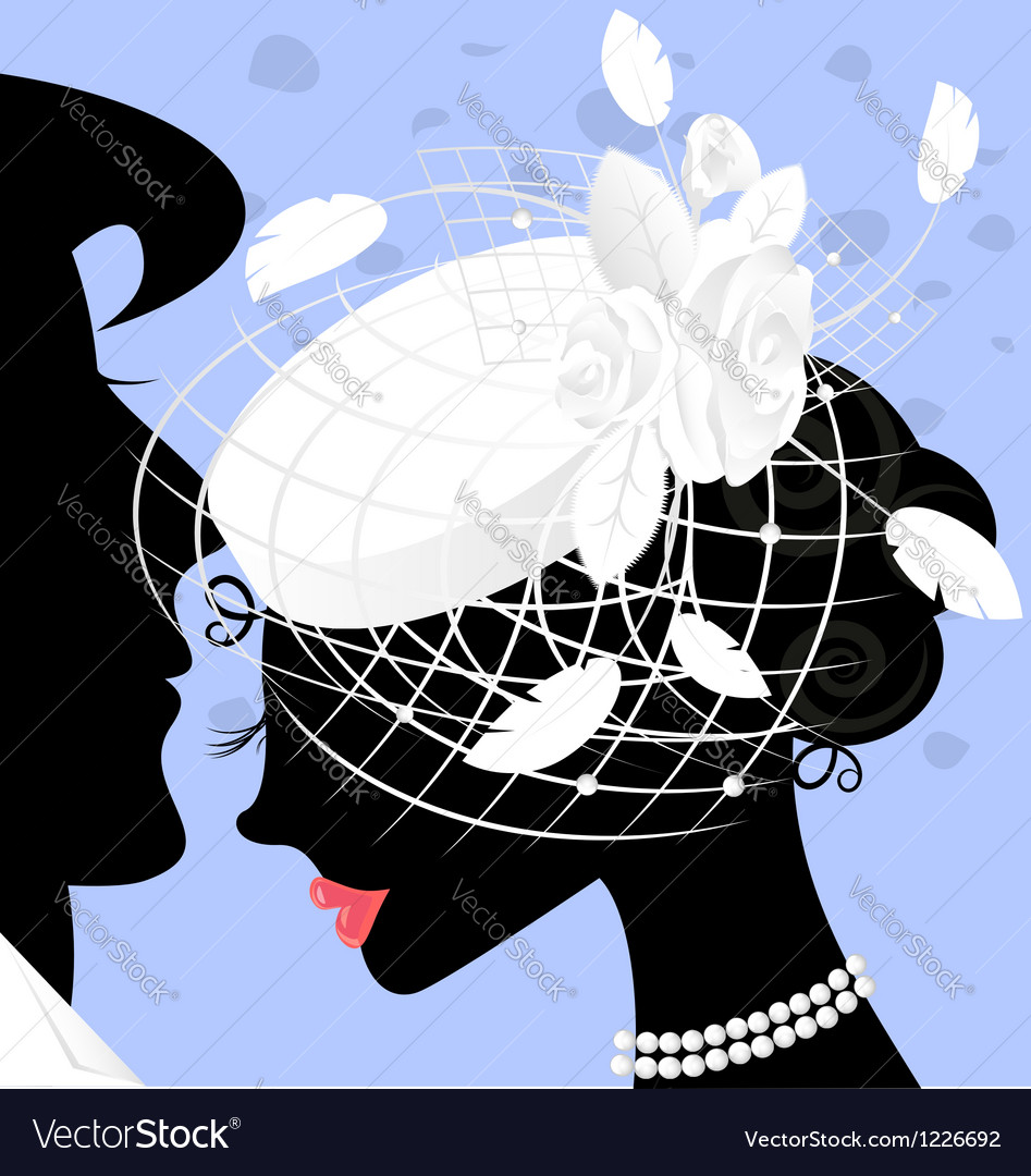 Image of lady in white-veil hat vector