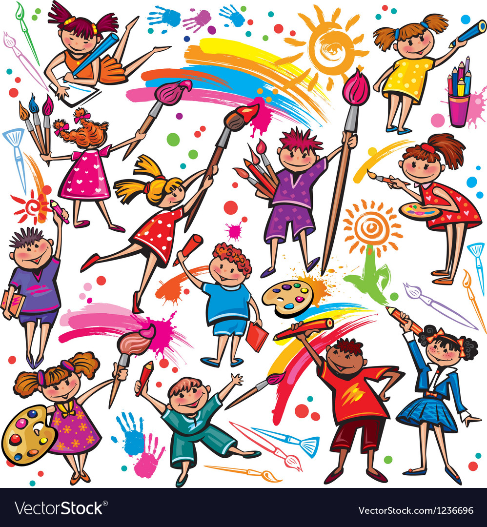 Happy children drawing with brush and colorful vector