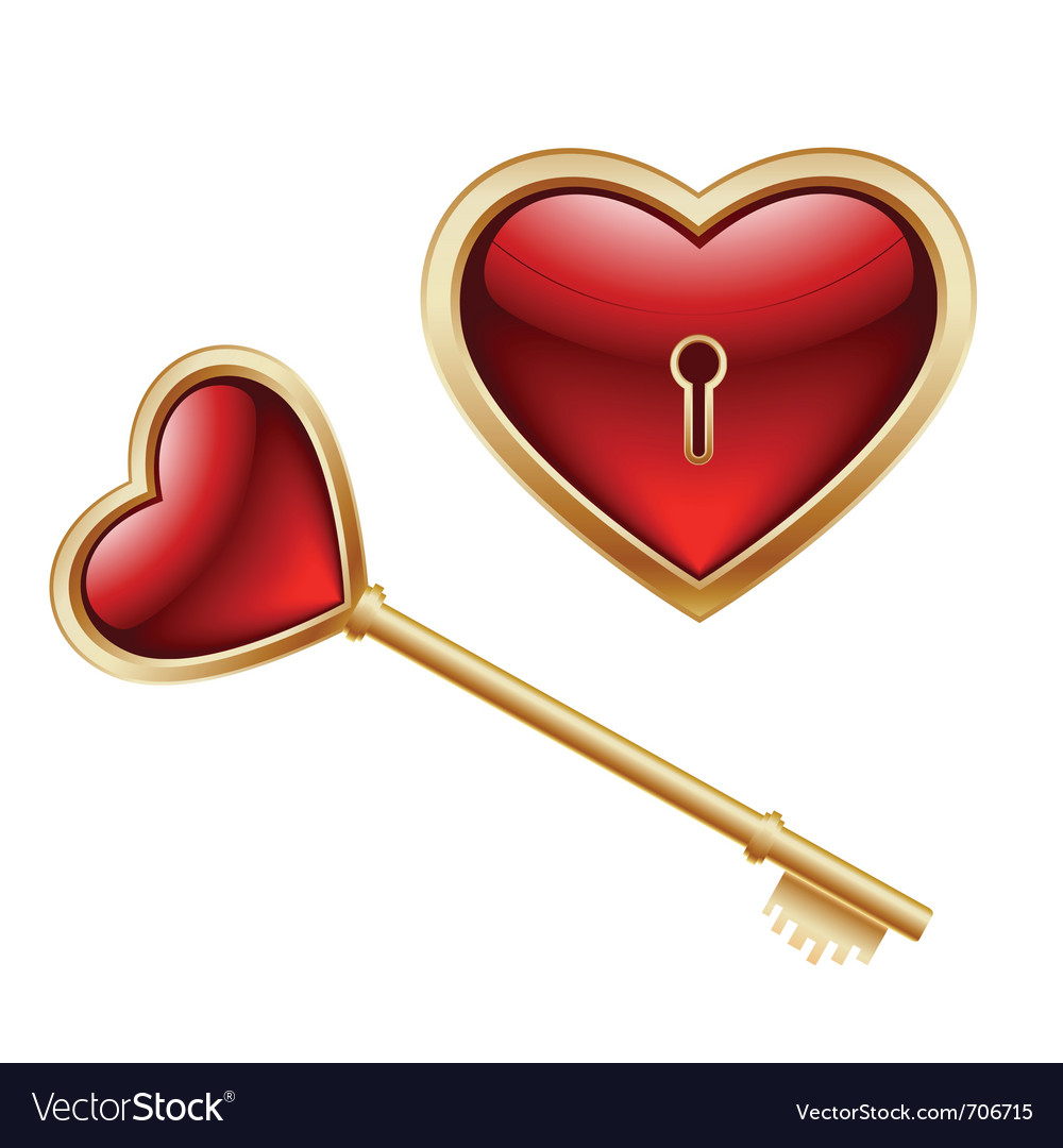 Key and heart vector