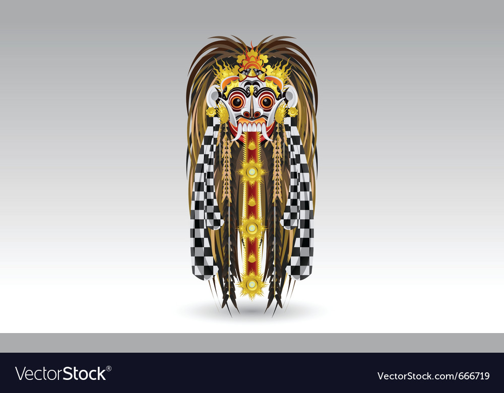 Rangda leak traditional bali demon mask vector