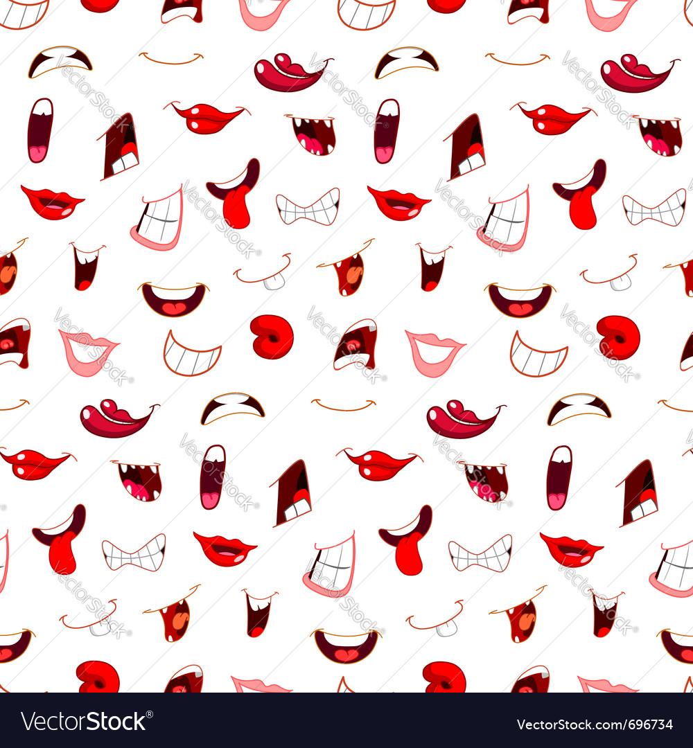 Cartoon mouths pattern vector