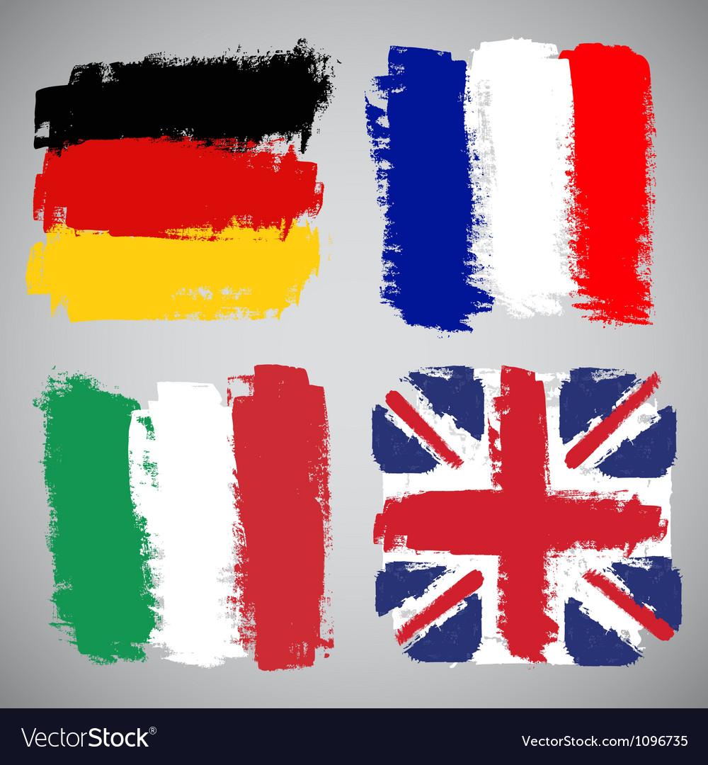Grunge european flags set vector