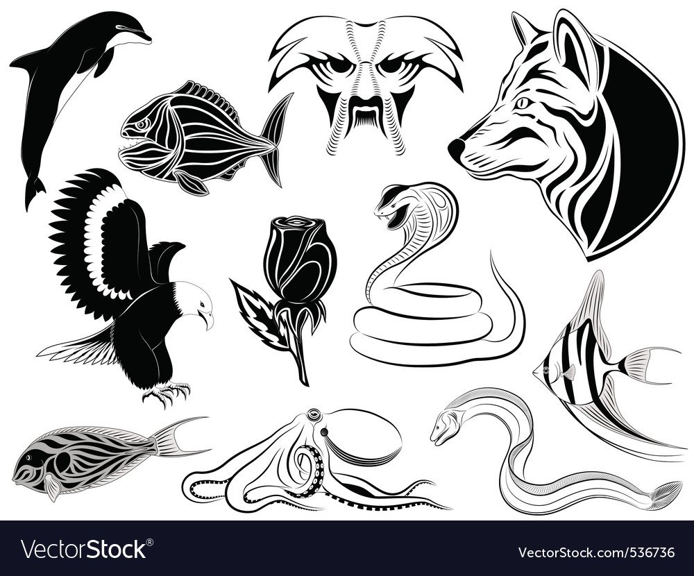 Set of various tattoos vector