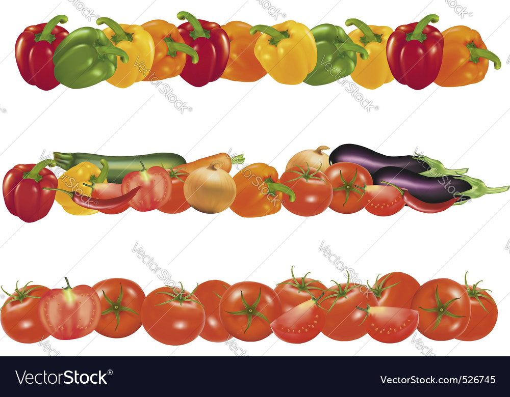 Three background of sweet vegetables vector