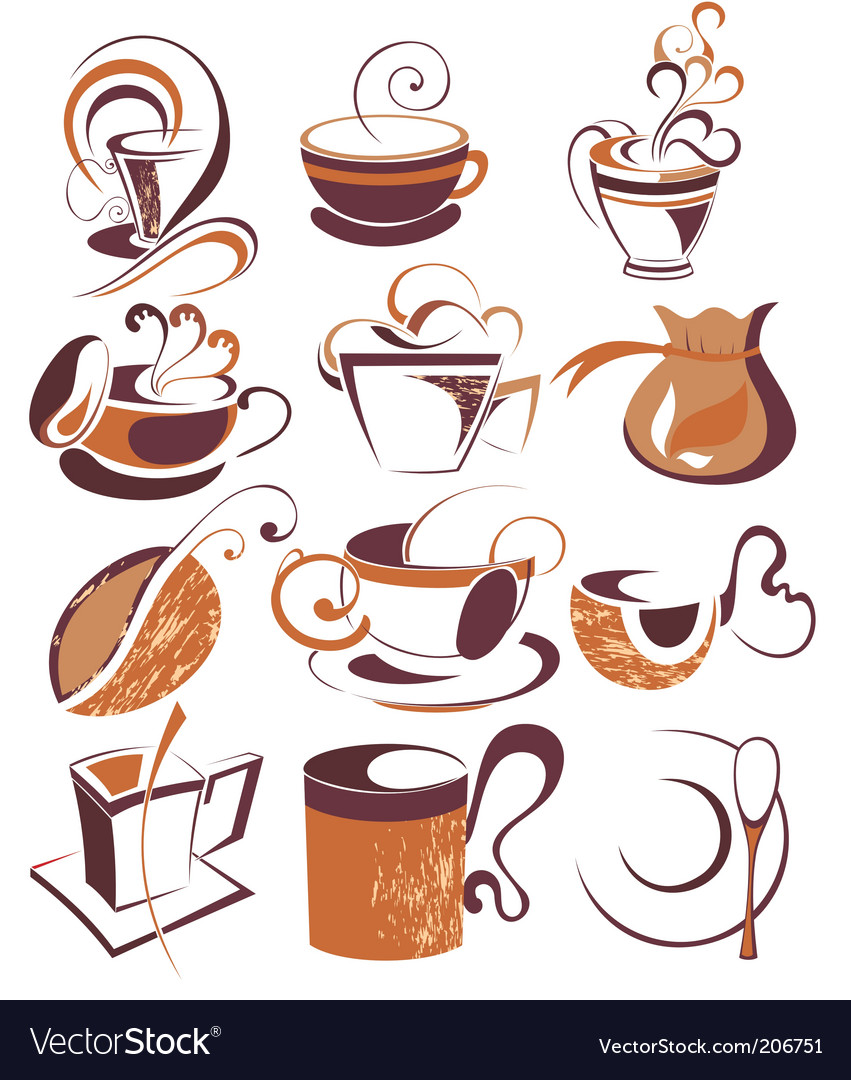 Big set of coffeetea elements vector