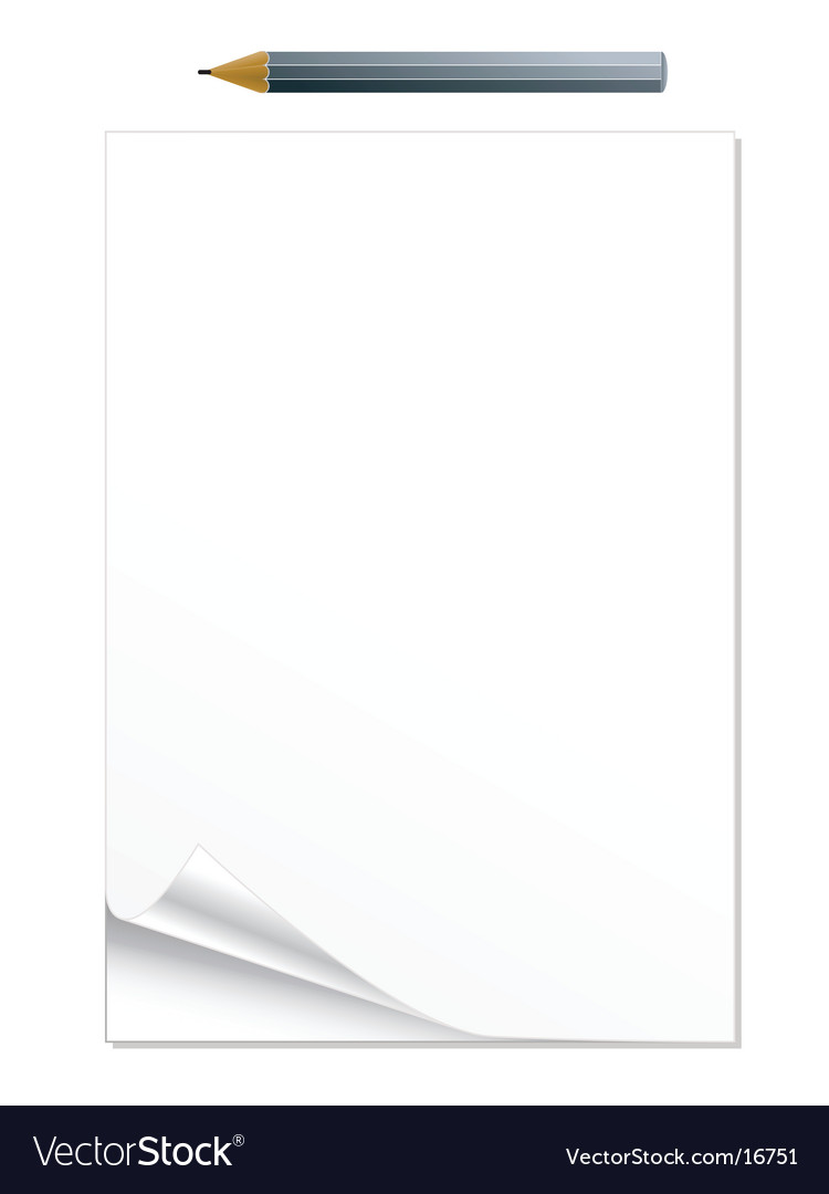 Curled notepad with pencil vector
