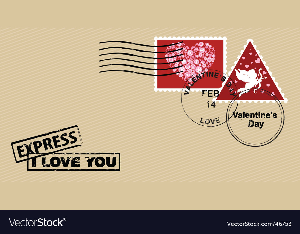 Valentine's day envelope vector