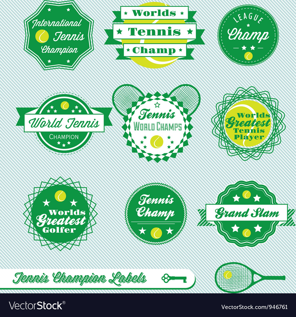 Tennis labels vector
