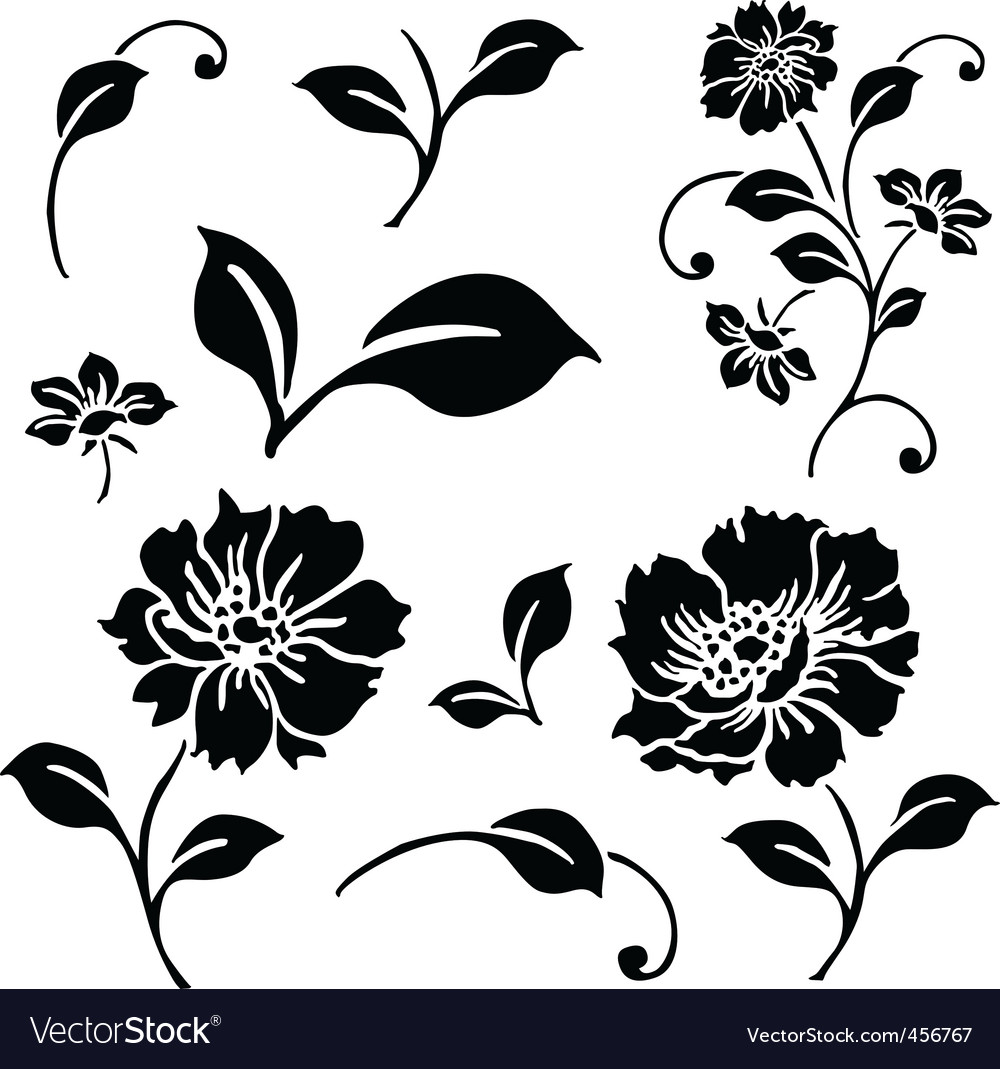daisy and floral ornaments vector