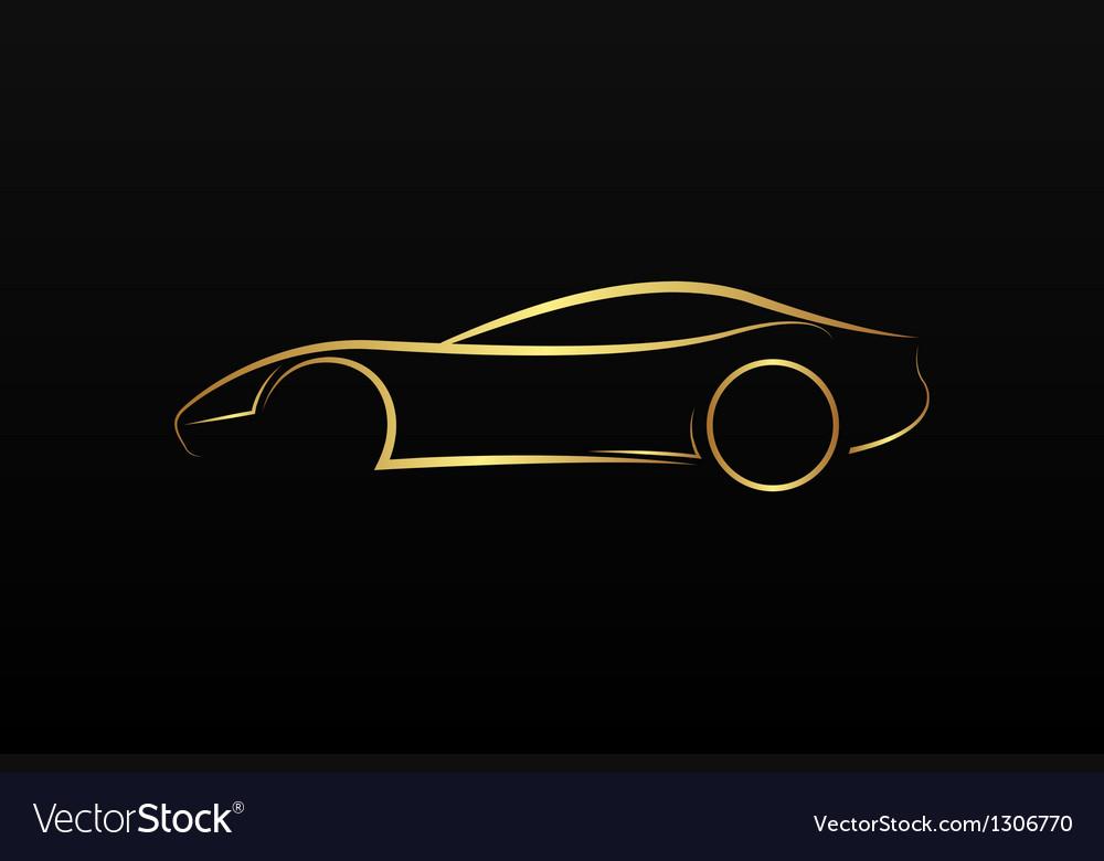 Golden car logo vector