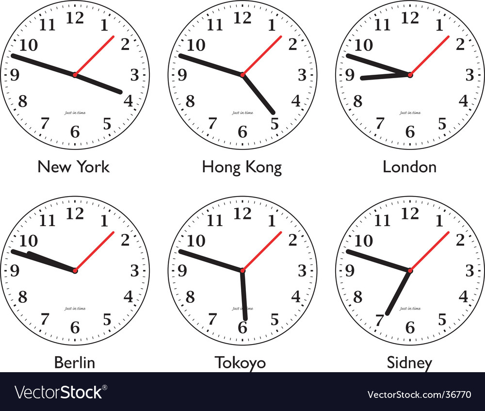 Time around the world vector