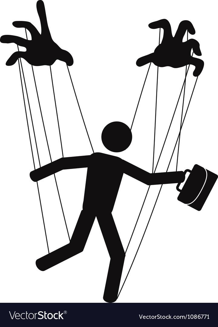 Businessman puppet vector