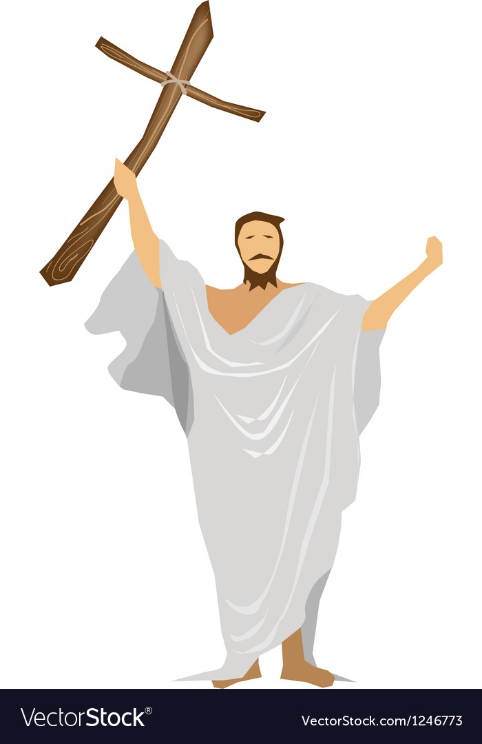 Jesus christ praying with a wooden cross vector