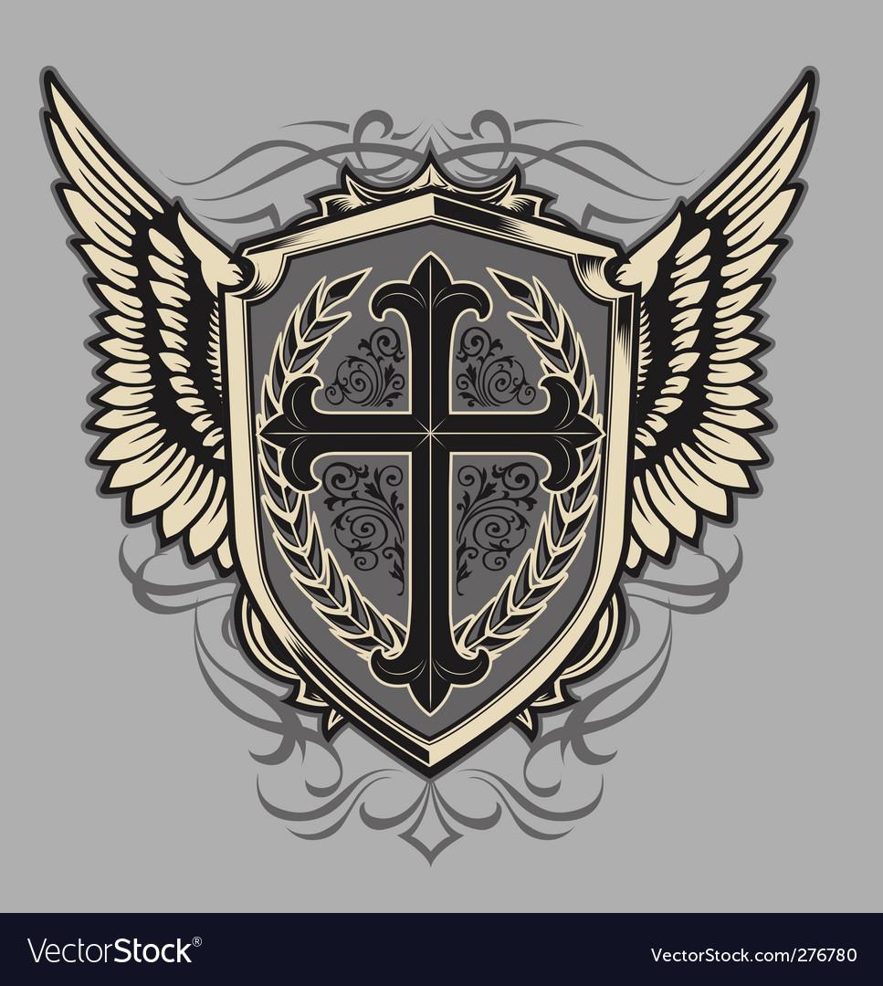 Cross shield vector