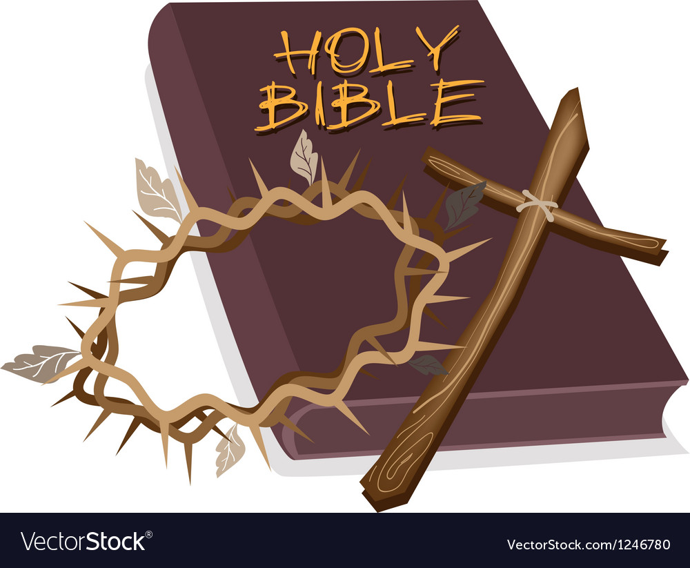 Holy bible with wooden cross and crown of thorn vector