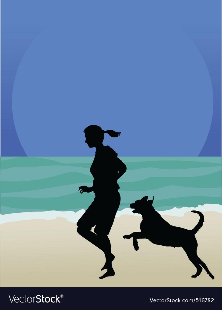 Dog on beach vector