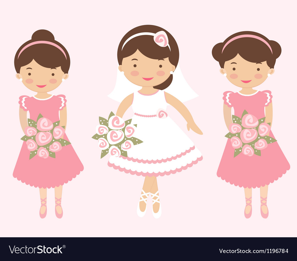 Bride with bridesmaids vector