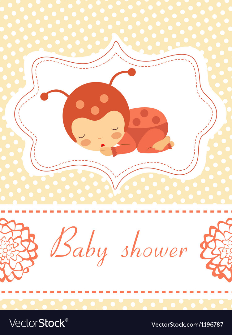 Card with baby ladybird vector