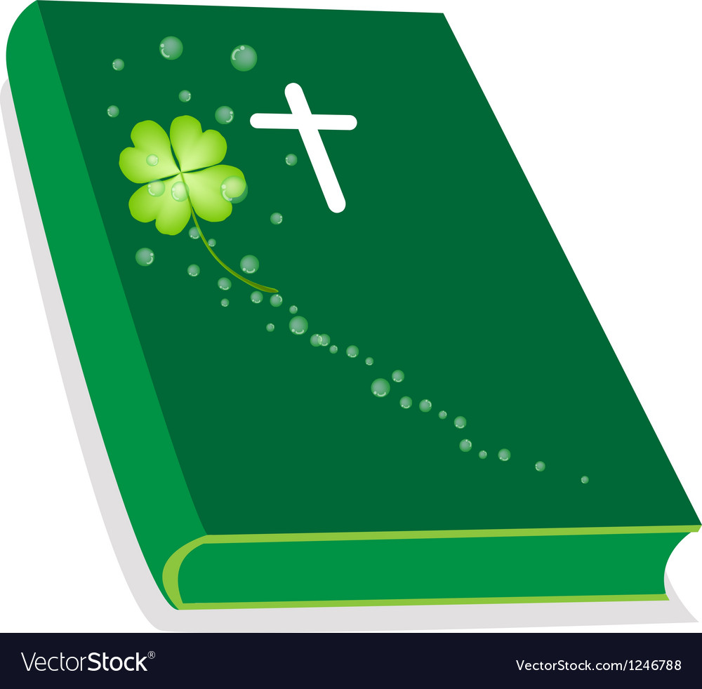 Holy bible with wooden cross and shamrock vector