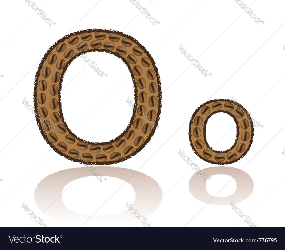Letter o is made grains of coffee isolated on whit vector