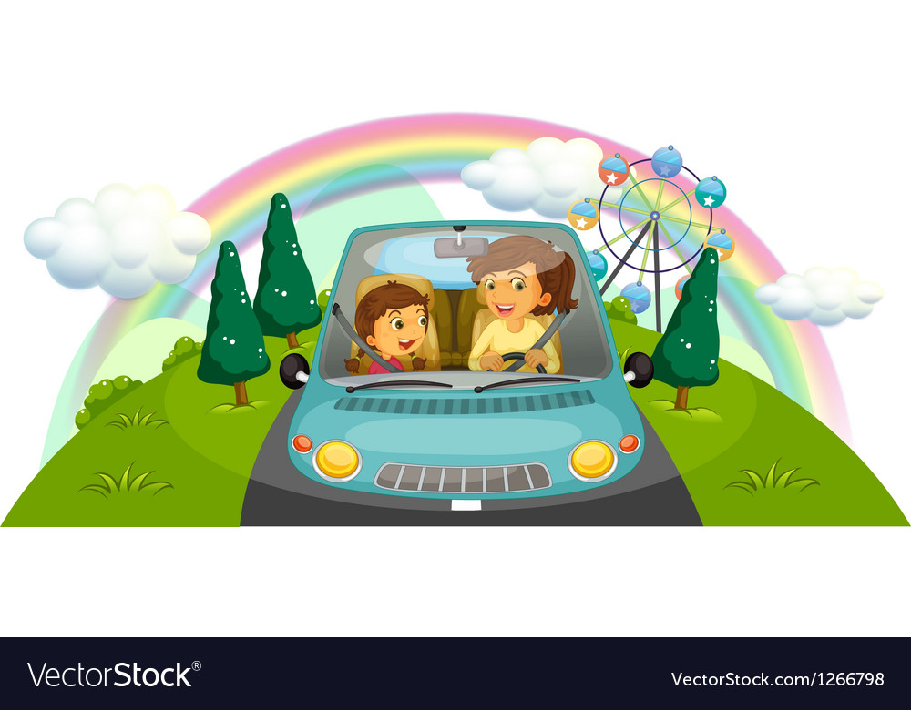 A mother driving the car with her daughter vector