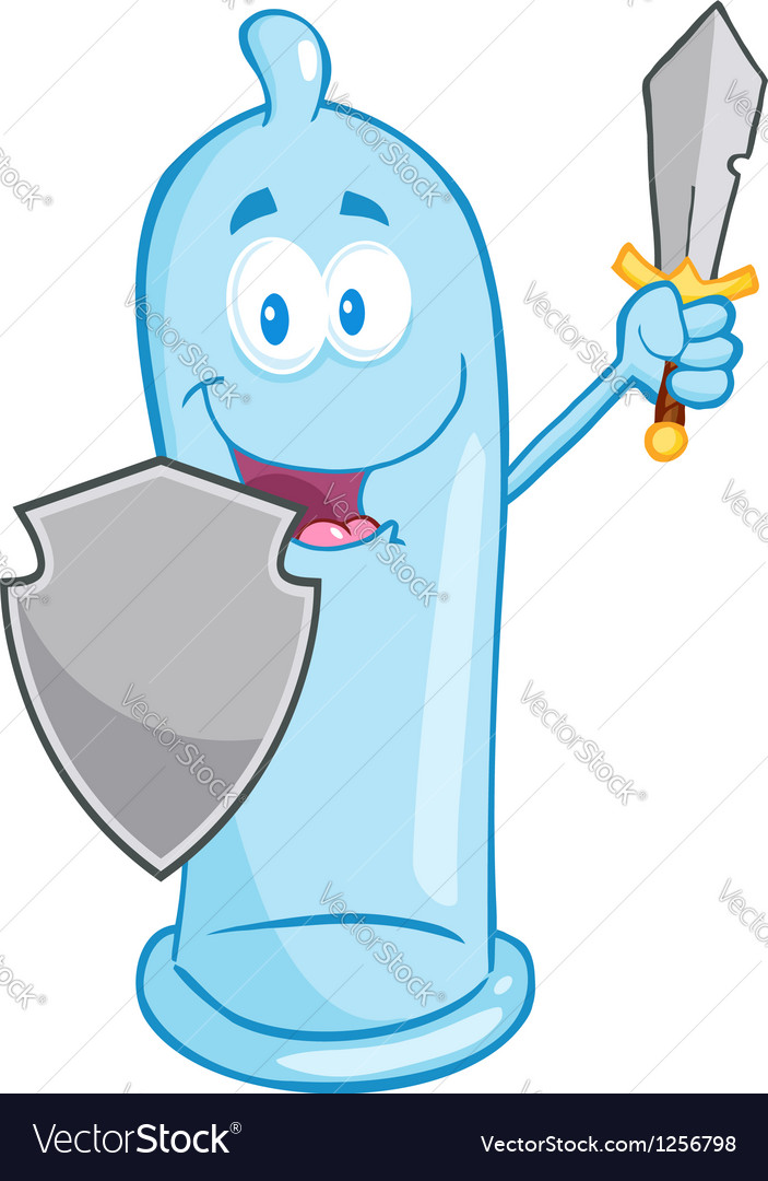 Condom with shield and sword vector