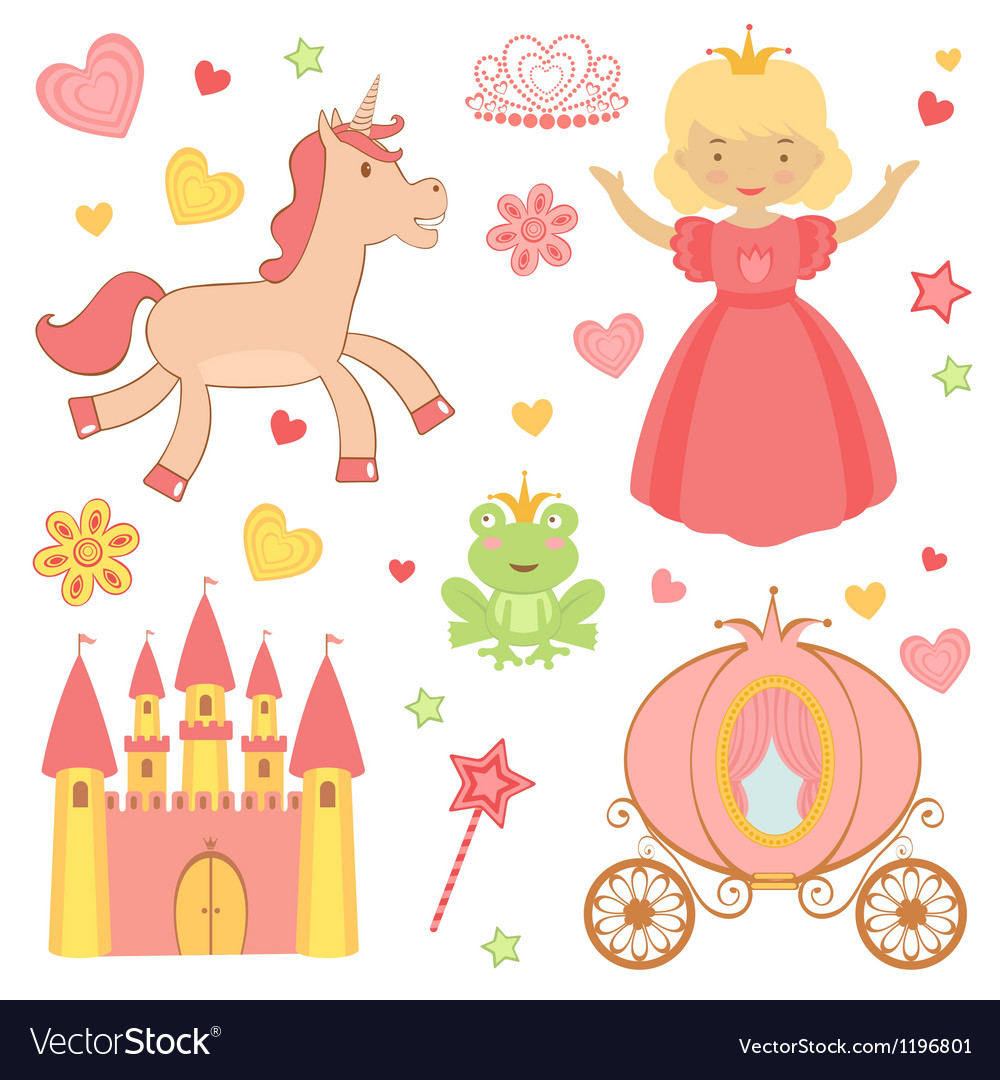 Princess icons vector