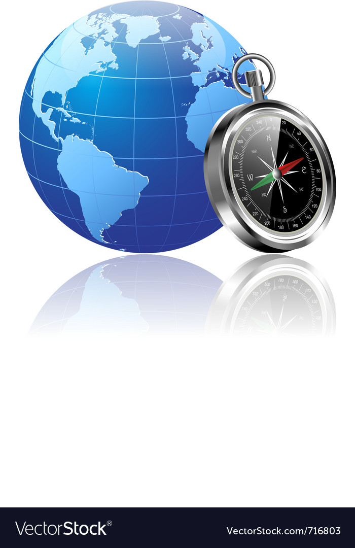 World and compass vector
