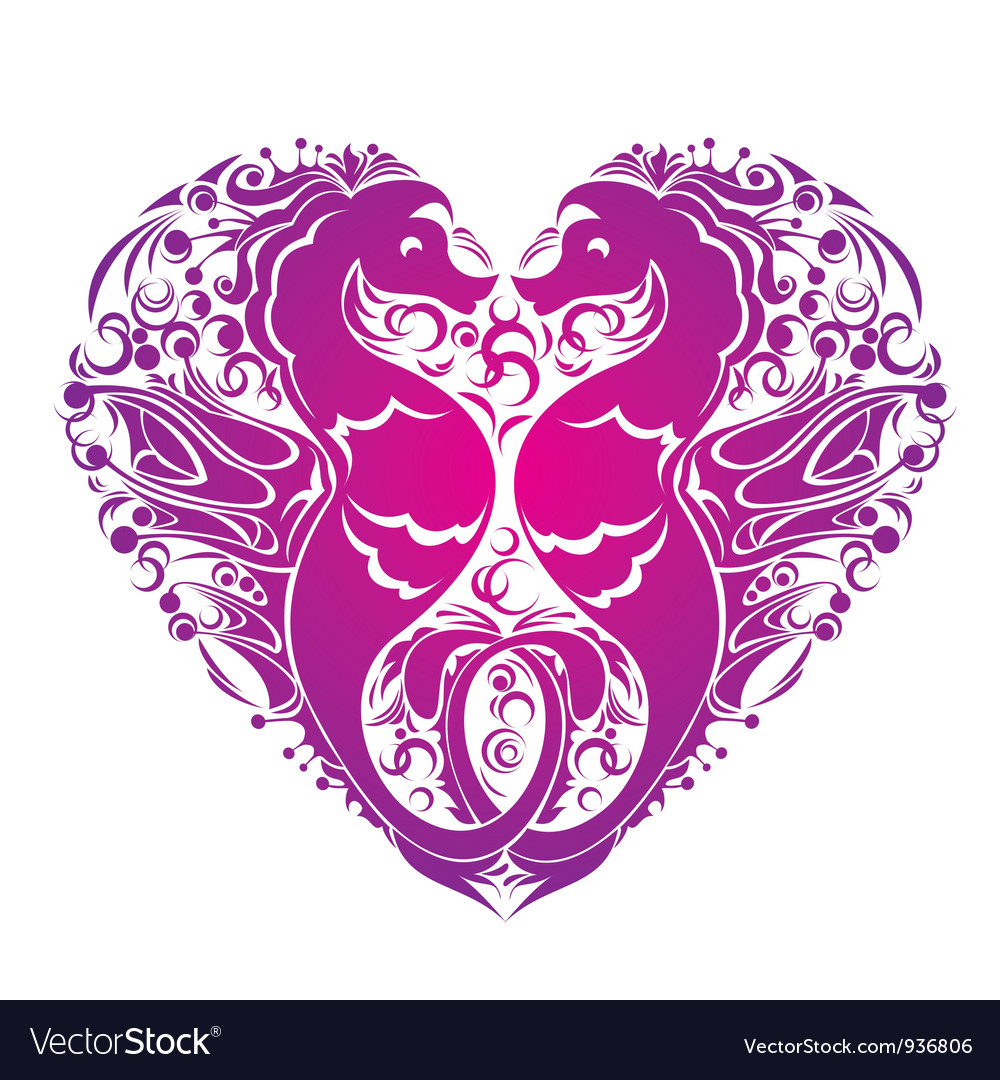 A heart is made of couple of seahorses vector