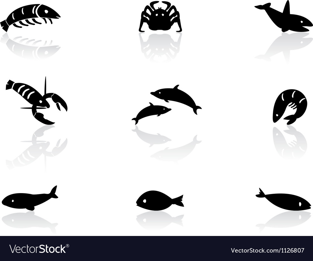 Ocean life icons 2 vector