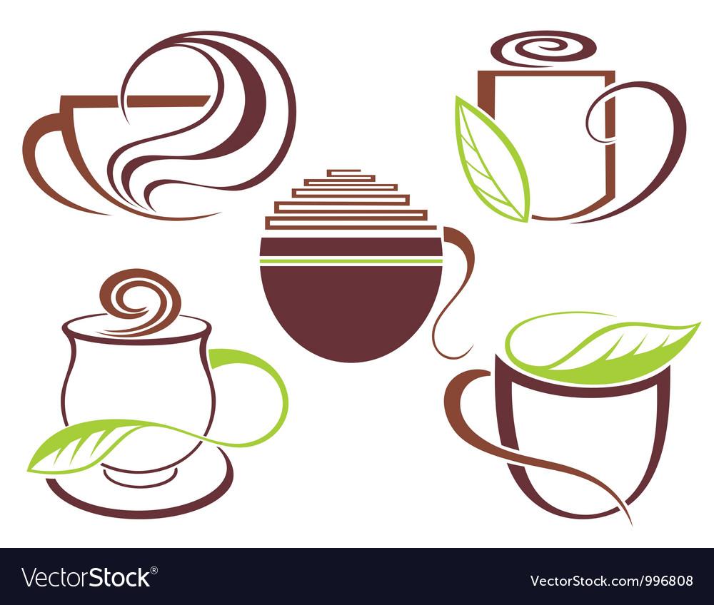 Cup of hot drink coffee tea vector