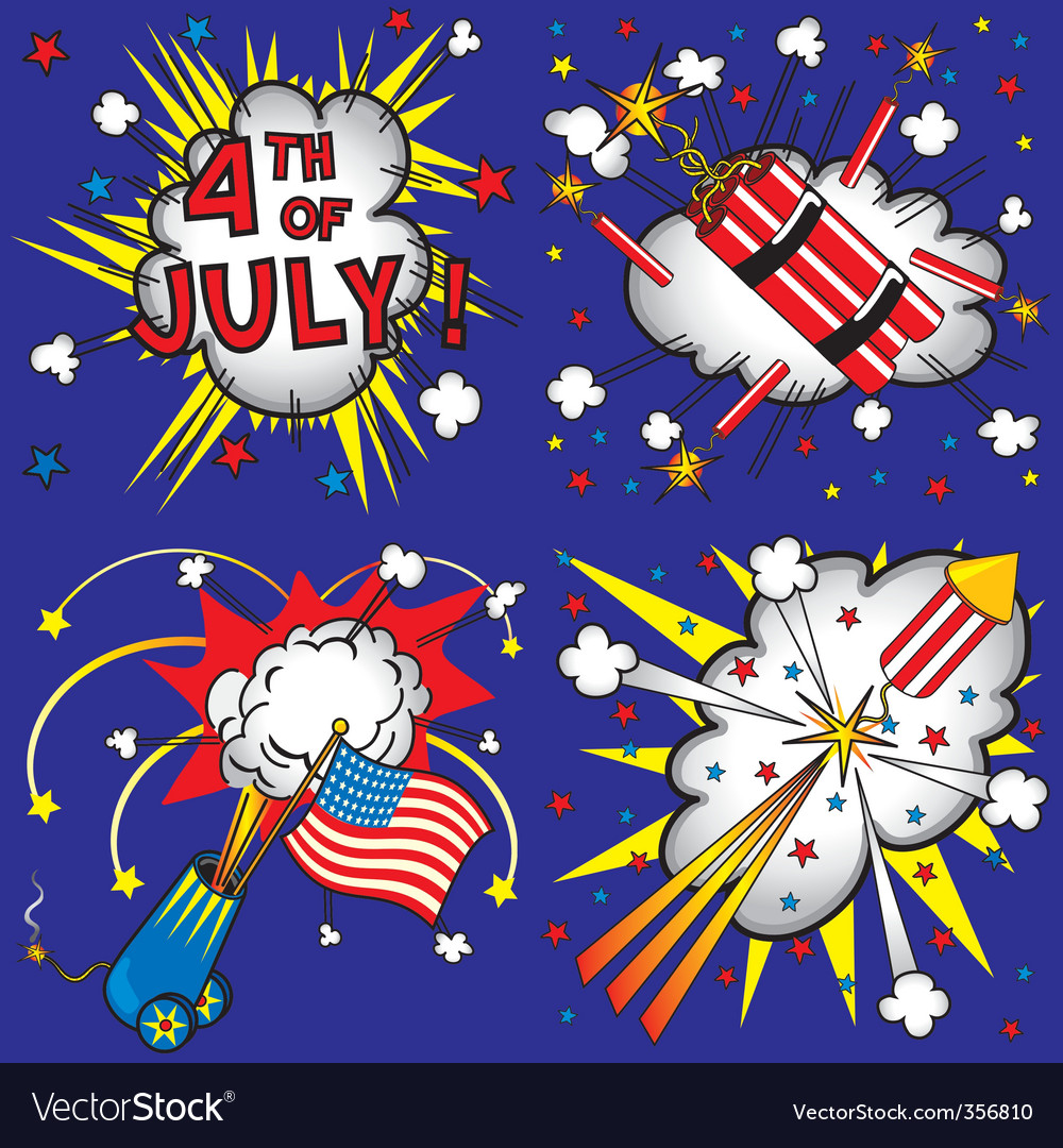 4th of july explosions vector