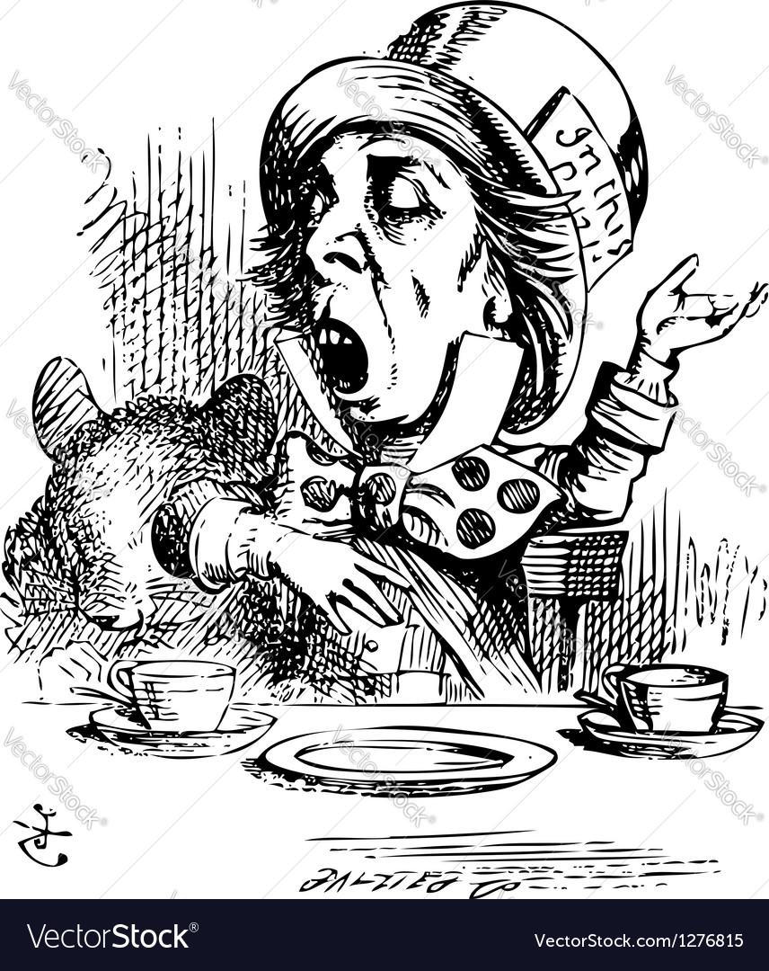 Hatter engaging in rhetoric alice in wonderland vector
