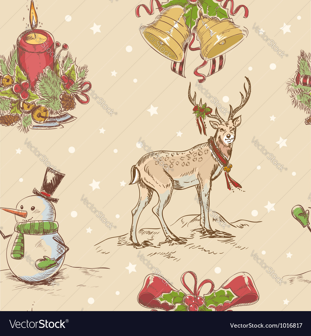 Creative seamless christmas hand drawn texture vector