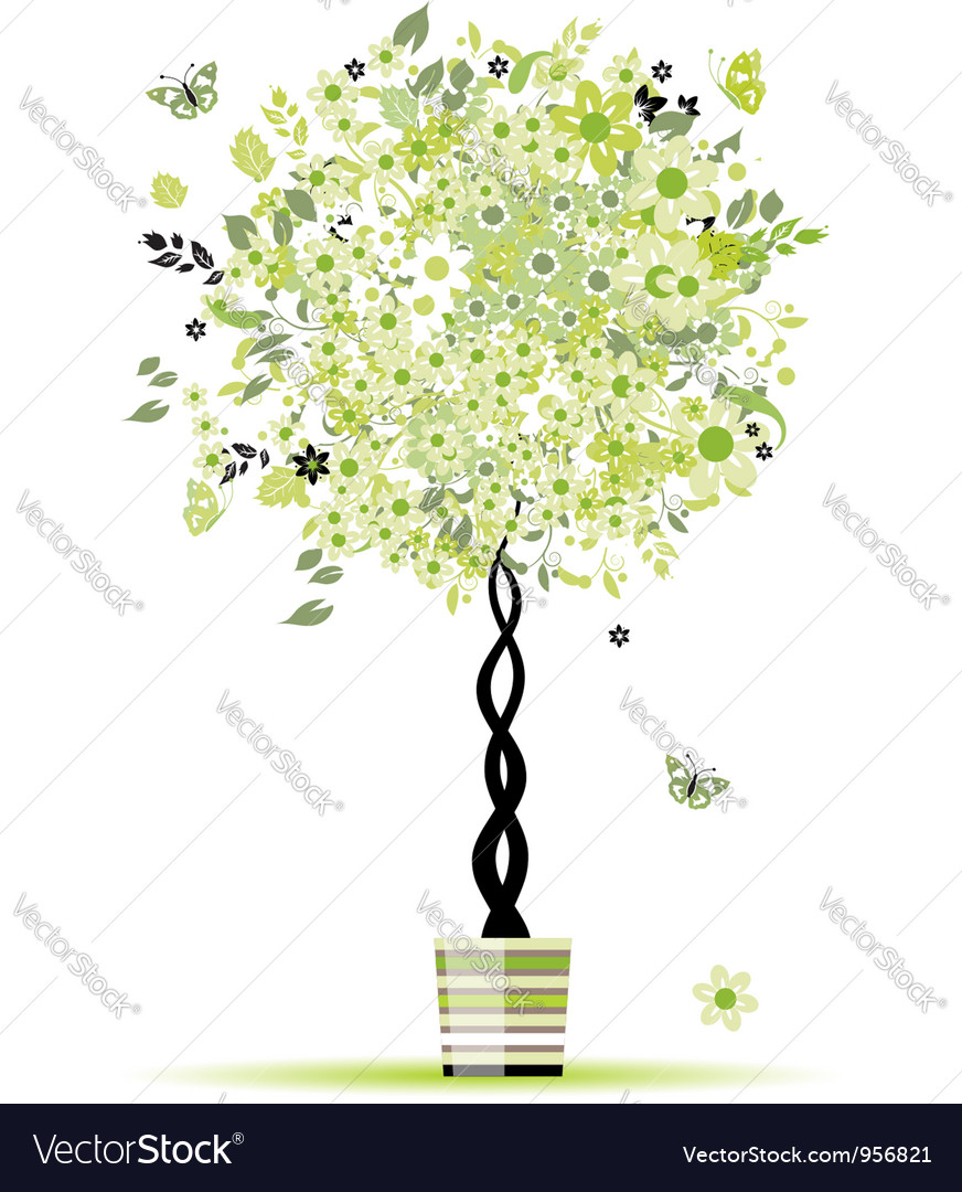 Spring floral tree green in pot for your design vector