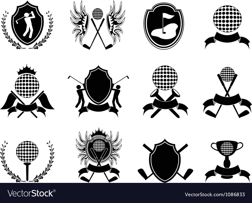 Black golf insignia vector