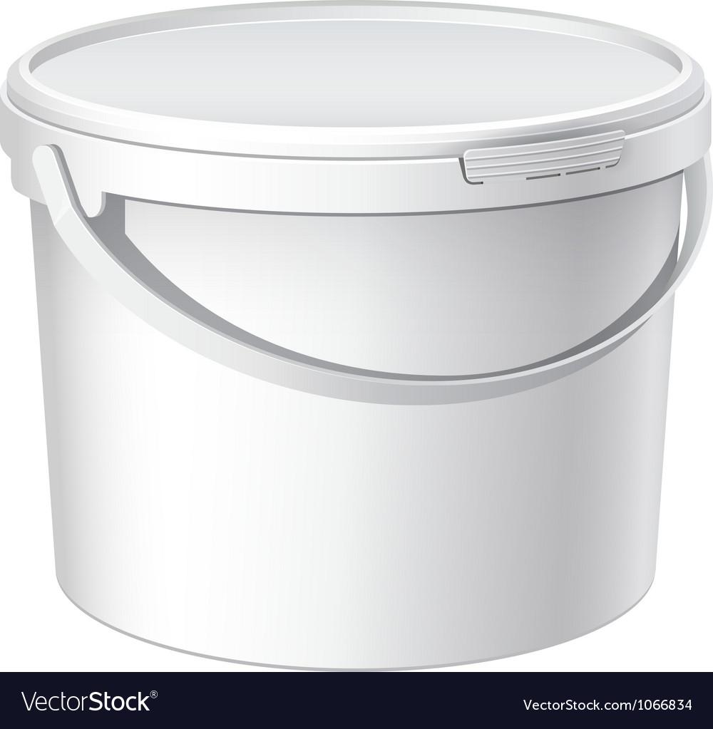 Cool realistic white plastic bucket vector