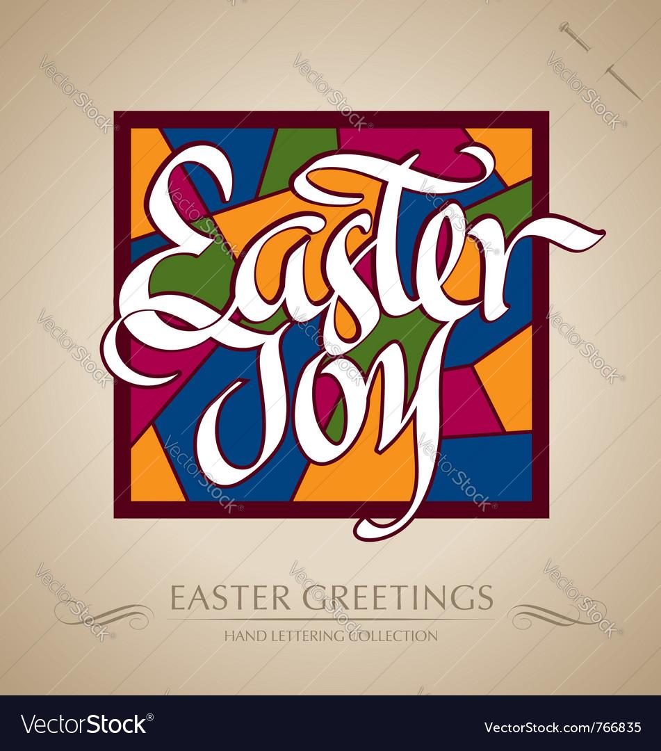 Easter joy hand lettering vector