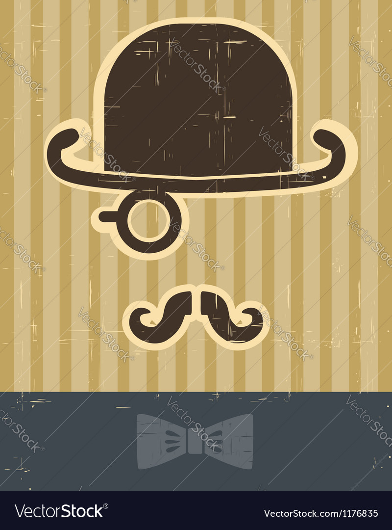 Gentlement with mustache and hat on vintage card vector