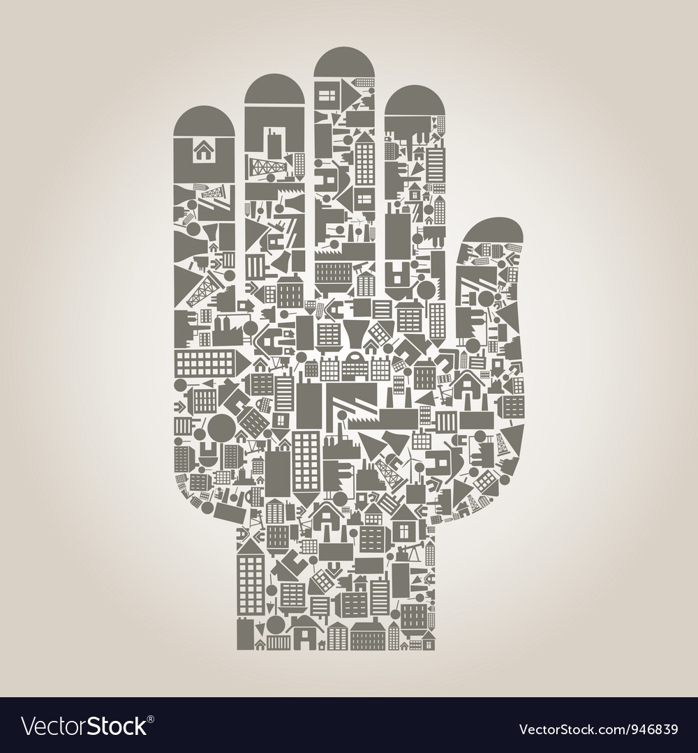 Hand the house vector