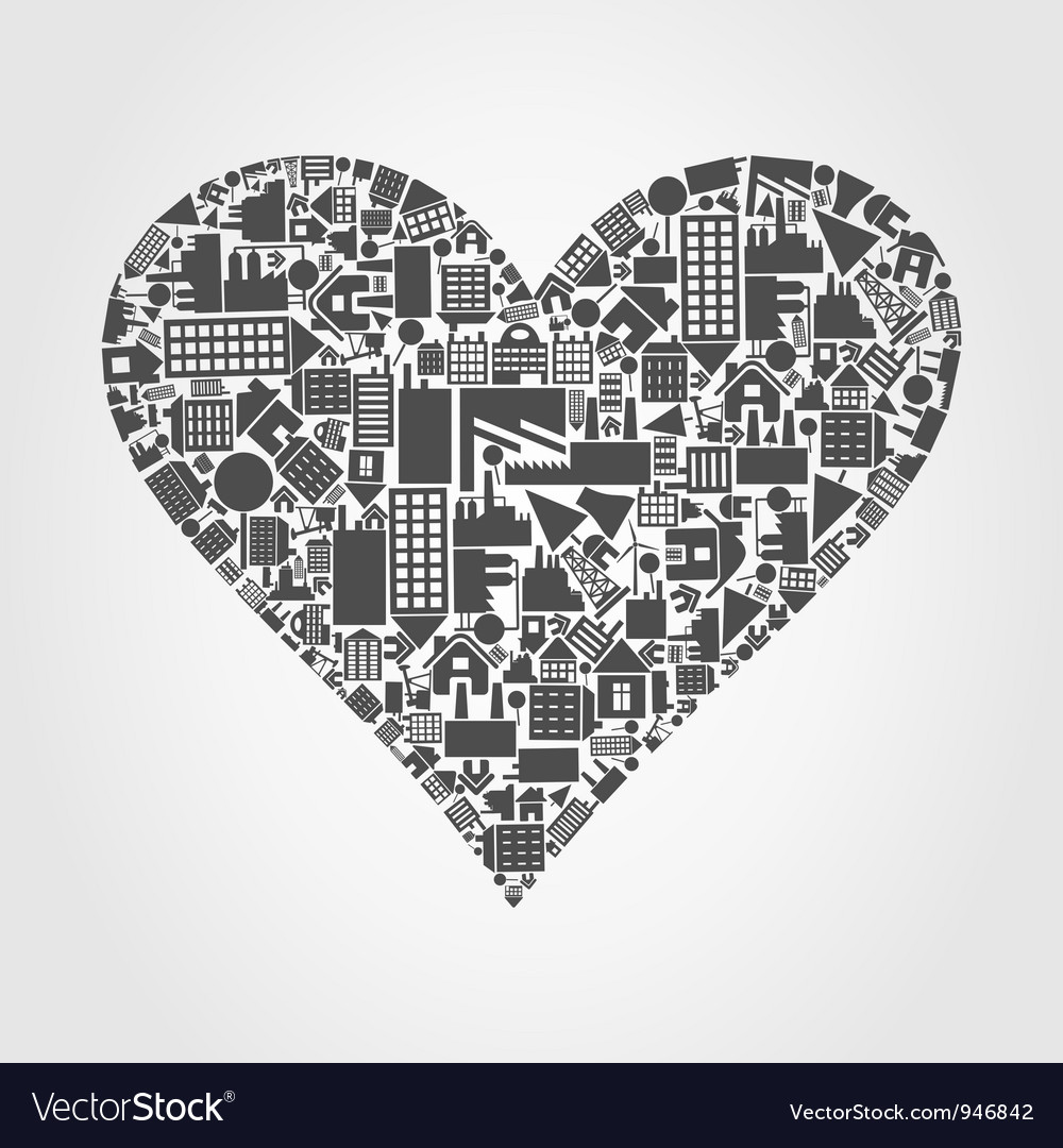 House heart vector